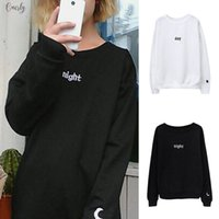 Wholesale women s black sun hats resale online - Women Day Night Letter Hoodies Harajuku Sun Moon Printed Sweatshirt Ladies Fashion Top Long Sleeve Loose Pullover Sudadera Mujer