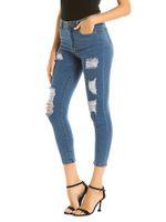 jeans ajustados desgastados al por mayor-2019 moda jeans mujer streetwear pantalones de lápiz de mezclilla de cintura alta boyfriend ripped skinny jeans para mujeres tallas grandes