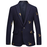 Wholesale prom suits for sale - Group buy Bee embroidery Blazer Slim Fit Masculino Abiti Uomo Wedding Prom Blazers Tweed Wool For Men Stylish Suit Jacket