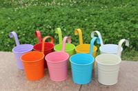 demir bahçe çiçekleri toptan satış-Renkli Asılı Saksı Kanca Duvar Tencere Demir Çiçek Tutucu Balkon Bahçe Ekici Ev Dekor Bitki Tencere Çiçek Tutucu Bahçe Malzemeleri 111