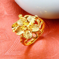 Wholesale 24k gold filled wedding ring for sale - Group buy MGFam R Wedding Flower Rings adjusted For Bradial Women Mother Friends Girls Nickel Free Jewelry k Pure Gold Plated