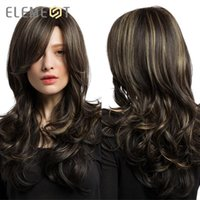 Wholesale black wig white bangs for sale - Group buy Heat Resistant Fiber Long Wavy Wigs with Side Bangs Synthetic Brown Mix Blonde Wigs for White Black Women