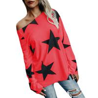 yüksek kaliteli giyim kadın artı boyutu toptan satış-Moda Tasarımcısı Yıldız Baskı T Gömlek Uzun Kollu Yaz Sonbahar Rahat Kadın T-Shirt Yüksek Kalite Artı Boyutu Tshirt Kadın Trendy Giyim