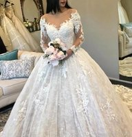 Wholesale full neck long fitting dress for sale - Group buy A Line Full Lace Wedding Dresses V Neck Long Sleeves Tulle Appliques Fitted Puffy Bridal Gowns BC0325