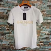 branded paar tee großhandel-Balman Herren T-Shirt Damen Einfarbig Designer Sommer Marke Top T mit Marke Brief Drucken Paar Hochwertige Luxus Kleidung XS-2XL