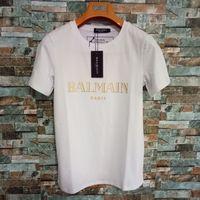 ingrosso tee marca a marchio-Balman Mens Tshirt Womens Solid Color Designer Estate Marca Top Tee con Marchio Lettera Stampa Coppia Abbigliamento di lusso di alta qualità XS-2XL