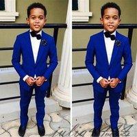 ingrosso tuxedo viola dei ragazzi-I progettisti Royal Blue bambini adatta per occasione partito 2pieces nozze Boy Set Abbigliamento per bambini Abiti Blazer, giacca sportiva per i ragazzi