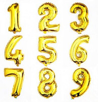 Wholesale numbered helium balloons resale online - Novelty Balloons Party Decoration Number inch Aluminum Film Helium Gold Silver Birthday Balloons Decoration Party Figures Toy