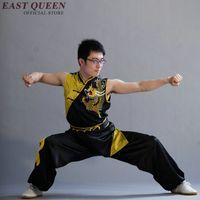 ropa wushu al por mayor-Venta al por mayor traje de dragón chino uniformes tradicionales de wushu ropa sin mangas de wushu ropa de kungfu para hombre S-6XL AA2537 Q