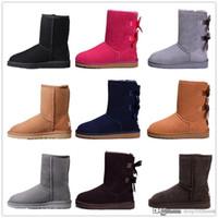 sapatos simples de couro preto venda por atacado-2019 Curva-nó WGG Womens Austrália clássico meio de altura Botas Bow Mulheres menina carregador carregadores da neve do inverno sapatos botas azul tornozelo de couro 36-41