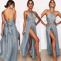 Wholesale prom dresses front openings for sale - Group buy 2019 New Sexy Summer Split Chiffon Bridesmaid Dresses Halter Neck Open Back Women Party Evening Prom Gowns Cheap bm0231
