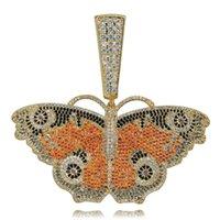halskette flügel ketten großhandel-Neue benutzerdefinierte voll Iced Out Schmetterlingsflügel Anhänger Halskette mit 12 mm kubanischen Kette Gold Silber Farbe Hip Hop Charm Kette Schmuck