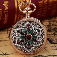 relógio de bolso esqueleto de aço inoxidável venda por atacado-Vitnage Mulheres Relógios New Moda Classic completa Rhinestone Flores grau de qualidade de luxo Bronze bolso Relógios