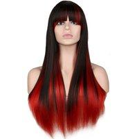 костюмы красные парики оптовых-Длинные прямые косплей парик женский костюм ну вечеринку черный красный Ombre 68 CmHeat устойчивы синтетические волосы