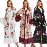dubai islami elbise toptan satış-Ramazan Kimono Abaya Robe Femme Dubai Hırka Müslüman Elbise Kadın Kaftanlar Kaftan Marocain Katar Elbise Türk İslam Giyim