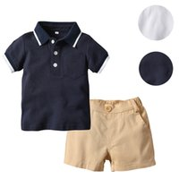 Wholesale baby leather shirts for sale - Group buy Perimedes Baby Boy Clothing Set Kids Clothing Infant Baby Boy Children Gentleman Suits Short Sleeve Shirt Shorts Outfit Set J190520