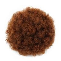 синтетические шиньоны оптовых-Большие шиньоны Puff Afro Curly Ponytail Высокотемпературное волокно на шнуровке Короткий Afro Kinky Ponytail Закрепите на синтетических булочках для волос