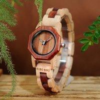 часы наручные оптовых-Новый бренд Bobo птица женские часы восьмиугольник деревянные часы дамы браслет наручные часы Relogio Feminino B-m26 J 190505