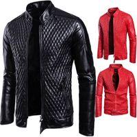 erkek modası sahte deri ceket toptan satış-Popüler Erkek deri ceket Moda Tasarımcısı Motosiklet ceketler Fermuar Yüksek kalite suni deri ceket Rüzgar Geçirmez erkekler giysiler Beden S-XXXL