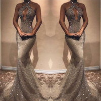 Wholesale stone beaded evening dress for sale - Group buy Halter Mermaid Long Prom Party Dresses Lace Beaded Stones Cut Away Floor Length Evening Gowns Vestidos De Festa