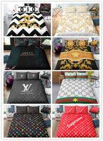 Wholesale modern black white bedding resale online - 3D printing Logo Fashion Bedding set with pillowcases duvet cover