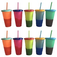 sıcaklık renk değişimi kahve fincanları toptan satış-Samanların 5 Renk C1426 ile Plastik Sıcaklık Değişimi Renk Bardaklar Rengarenk Soğuk Su Renk değiştirme Coffee Cup Kupa Su Şişeleri