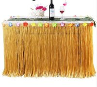 Wholesale orange wedding table decorations resale online - 1pcs Orange Green Luau Grass Hula Table Skirt Table Runner Diy Birthday Wedding Halloween Pool Party Hawaii Party Decor
