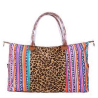 Wholesale food bag woman for sale - Group buy Fashion Woman Leopard Tote Rainbow Stripe Packages Floral Printing Outdoor Travel Camp Large Capacity Bag TTA1053