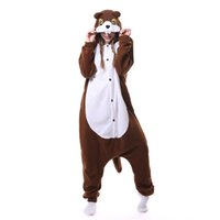 ingrosso tuta da pelo per adulti-Brown Squirrel Tutina Kigurumi Polar Fleece Donna Adulto Animale Pigiama Tuta Sciolto Carino Festival Fantasie Del Fumetto Onepiece