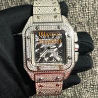 farbuhren für männer großhandel-Iced Out Uhr Diamant Uhr 46mm Hohe Qualität Quarz VK Bewegung Sweep Move Man Luxus Uhr 316 Edelstahl Set Diamant 2 Farbe