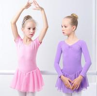 ballet long achat en gros de-Filles Ballet Dress Gymnastique Justaucorps Manches Longues / Courtes Ballet Vêtements Backless Bow Dance Wear Bouton Barboteuse TUTU Jupes Dancewear LJJA2282