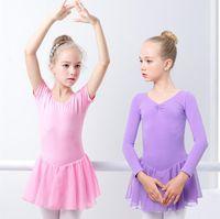 ingrosso balletto lungo-Vestito da balletto per ragazze Ginnastica Body manica lunga / corta da balletto Abbigliamento Backless Bow Dance Wear Button Pagliaccetto TUTU Gonne Dancewear LJJA2282