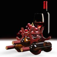 деревянные стенды для показа оптовых-Творческий Деревянный Стиль Wine Rack 6 Шт. Винные Держатели Бутылка Вина Дисплей Стенд Организатор Бар Стеллажи Для Хранения