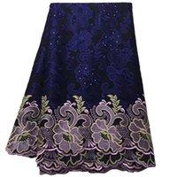 lindos vestidos da marinha venda por atacado-(5 metros / pc) maravilhoso marinha azul tecido de renda de algodão Africano bordado Swiss voile tecido de renda para o vestido bonito CLS204