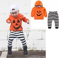 ingrosso maglione felpe con cappuccio bambini-2019 primavera autunno bambini vestiti di halloween set baby boy abiti boutique per bambini vestiti ragazzi zucca con cappuccio maglioni pantaloni a righe 2 pezzi