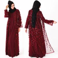 ingrosso donne s abaya-Di lusso paillettes lungo ricamato musulmano Abaya arabo Robe lusso Kimono Dubai Kaftan Ramadan bordare pizzo Cargigan