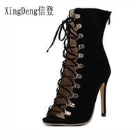 zapatos de vestir chica sexy al por mayor-XingDeng Party Girl Sexy Party Dress European Motorcycle Shoes tacones altos botas zapatos con cordones vendaje correa del tobillo mujeres