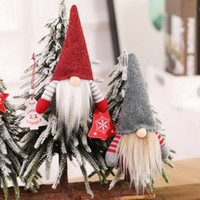 adornos de elfo al por mayor-Tabla ornamento de la Navidad hecha a mano sueca Gnomo escandinavo Tomte de Santa Nisse nórdica felpa Elf Juguete del árbol de Navidad Decoración RRA2355