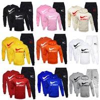 eşofman spor takım elbise erkek toptan satış-Kalın Kapşonlu Yün + Pantolon Yeni Marka Eşofman Moda Kapüşonlular İçin Erkekler Spor Üç Parça Setler + Sweatshirt Spor Suit