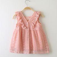 hoja de tutu al por mayor-Venta al por menor 2019 Girls Lace Lotus Leaf Princess Dress Baby Kids boutique Cosplay Verano con cuello en V Botón Vestidos de cumpleaños niña ropa de diseñador