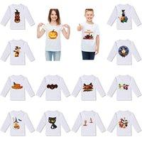 weißes bedrucktes hemd für kinder großhandel-2019 neues Halloween-Baby scherzt T-Shirt Kürbisgeist-Druckhemd scherzt desiigner Kleidungsfeiertagskarikatur langärmliges weißes T-Shirt M025