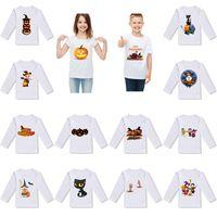chemise imprimée blanche pour enfants achat en gros de-2019 nouveau Halloween bébé enfants T-shirt citrouille fantôme chemise imprimée enfants desiigner vêtements dessin animé de vacances à manches longues Blanc T-shirt M025