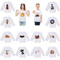 ingrosso camicia bianca stampata per i bambini-2019 nuova maglietta per bambini di Halloween maglietta con stampa fantasma di zucca maglietta per bambini desiigner vestiti cartone animato a maniche lunghe T-shirt bianca M025