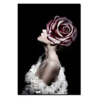 Wholesale beautiful oil paintings art resale online - Decorative Art Wall Poster Oil Canvas Nordic Painting Art Photography Black and White Feather Figure Beautiful Lady HD Print ForLiving Room