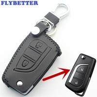 toyota camry tuşları toptan satış-FLYBETTER Hakiki Deri 2 Düğme Çevirme Anahtar Kılıfı Toyota Toyota Için / Corolla / Rav4 / Vios / Camry / Highlander Araba Styling L44