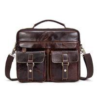 men s leather body bag оптовых- Genuine Leather Shoulder Bag Men's Handbag Male Cowhide Messenger Bag Cross Body Handle Pack Briefcase Portfolio