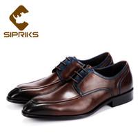 zapatos de vestir marrón oscuro para hombre. al por mayor-Sipriks Real Cow Leather Dark Brown Oxfords Classic Boss Hombres Dividir los zapatos de vestir de estilo británico Zapatos formales de hombre Europeo 46