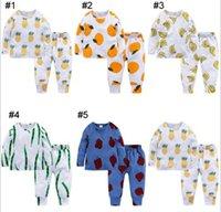 roupas de bebê de banana venda por atacado-INS New baby boy Menina Conjuntos de Roupas Pijama 100% Algodão manga longa dos desenhos animados abacaxi Banana orange impressão menino set verão menino menina casual set