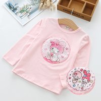 Wholesale chinese girls t shirts resale online - Children s wear autumn new girls long sleeved sequins bottoming shirt cotton T shirt round neck flip color