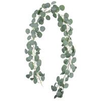 ingrosso foglie ghirlande artificiali-Foglie di eucalipto artificiale ghirlanda di seta finto Vines verde corona 61/2 piedi matrimonio sfondo decorazione della casa